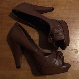 Chocolate brown platform heels